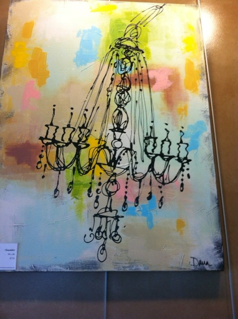 "This chandelier is acrylic on a 30"" x 40"" canvas. Offered at $710.00."